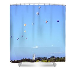 Hot Air Balloons Over Omaha Shower Curtain by John Bowers