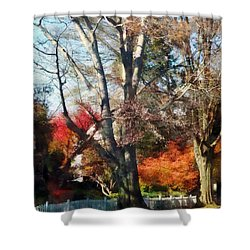 House With Picket Fence In Autumn Shower Curtain by Susan Savad