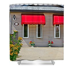 House With Red Shades. Shower Curtain