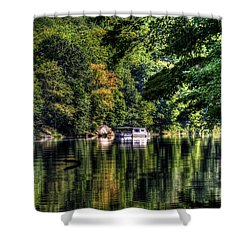 Houseboat On Lake Shower Curtain by Dan Friend