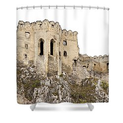 Shower Curtain featuring the photograph Hrad Beckov Castle by Les Palenik