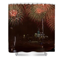 Hudson River Fireworks Xii Shower Curtain by Clarence Holmes