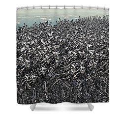 Hundreds Of Robots Running Wild Shower Curtain by Mark Stevenson
