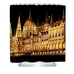 Hungarian Parliament Building Shower Curtain by Mariola Bitner