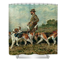 Hunting Exercise Shower Curtain by John Emms