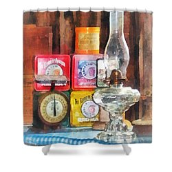 Hurricane Lamp And Scale Shower Curtain by Susan Savad