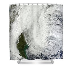 Hurricane Sandy Off The Southeastern Shower Curtain by Stocktrek Images