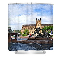 Hyde Park Fountain And St. Mary's Cathedral Shower Curtain by Kaye Menner