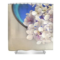 Hydrangeas In Blue Bowl Shower Curtain by Lyn Randle