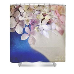 Hydrangeas In Deep Blue Vase Shower Curtain