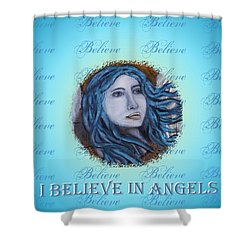 I Believe In Angels Shower Curtain by The Art With A Heart By Charlotte Phillips