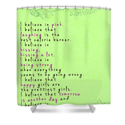 I Believe In Pink - Audrey Hepburn Shower Curtain by Georgia Fowler