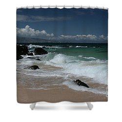 i miha kai i ka aina Hookipa Beach Maui North Shore Hawaii Shower Curtain by Sharon Mau