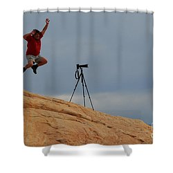I Think He Got The Shot Shower Curtain by Vivian Christopher