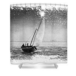 I Want To Ride On The Wind. Dhoni Boat. Maldives Shower Curtain by Jenny Rainbow