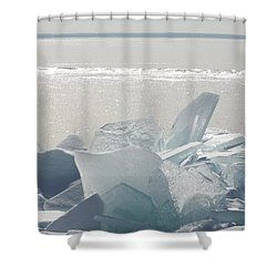 Ice Chunks On The Shores Of Lake Shower Curtain by Susan Dykstra