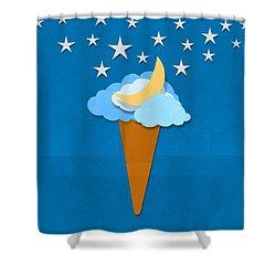 Ice Cream Design On Hand Made Paper Shower Curtain by Setsiri Silapasuwanchai