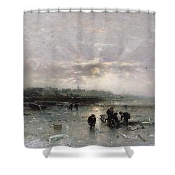 Ice Fishing Shower Curtain by Ludwig Munthe