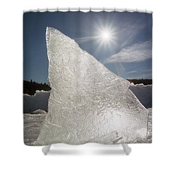 Ice Formation Along The Bow River Shower Curtain by Darwin Wiggett