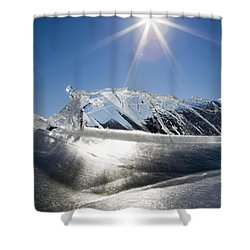 Ice Formations On A Frozen Lake Shower Curtain by Michael Interisano