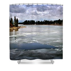 Ice On The Yellowstone River Shower Curtain by Ellen Heaverlo