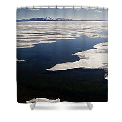 Shower Curtain featuring the photograph Ice On Yellowstone Lake by J L Woody Wooden