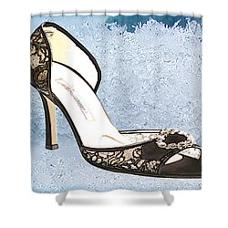 Ice Princess Lace Pumps Shower Curtain by Elaine Plesser