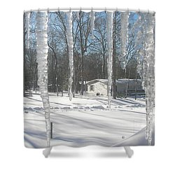 Shower Curtain featuring the photograph Icicles Through The Window Glass by Pamela Hyde Wilson
