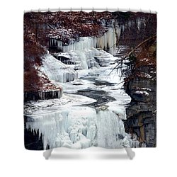 Icy Waterfalls Shower Curtain by Paul Ge