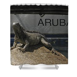 Shower Curtain featuring the photograph Iguana by David Gleeson