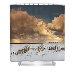Illuminated Clouds Glowing Above A Shower Curtain by John Short