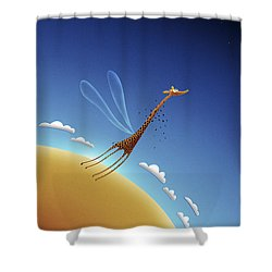 Illustration Of A Giraffe Learning Shower Curtain by Vlad Gerasimov