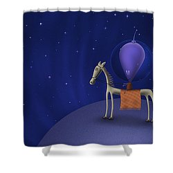 Illustration Of A Martian Riding Shower Curtain by Vlad Gerasimov