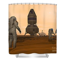 Illustration Of Astronauts Setting Shower Curtain by Walter Myers