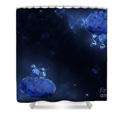 Illustration Of Humans And Aliens Shower Curtain by Vlad Gerasimov