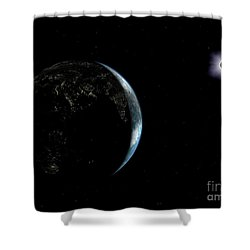 Illustration Of The City Lights Shower Curtain by Walter Myers
