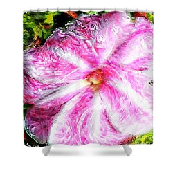 Impressionistic  Candy Cane Impatiens Shower Curtain by Barbara Griffin