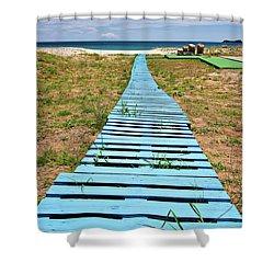Improvised Boardwalk Shower Curtain by Meirion Matthias