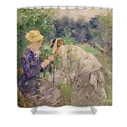 In The Bois De Boulogne Shower Curtain by Berthe Morisot