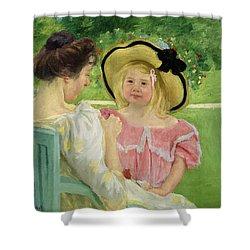 In The Garden Shower Curtain by Mary Stevenson Cassatt