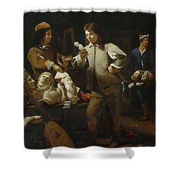 In The Studio Shower Curtain by Michael Sweerts