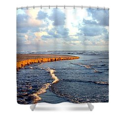 Incoming Tide At Sundown Shower Curtain by Will Borden