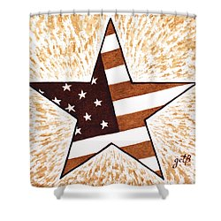 Independence Day Star Usa Flag Coffee Painting Shower Curtain by Georgeta  Blanaru