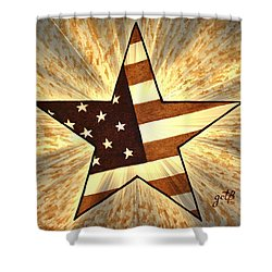 Independence Day Stary American Flag Shower Curtain by Georgeta  Blanaru