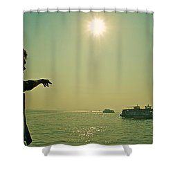 Indian Guide On The Sea Shower Curtain by Valerie Rosen