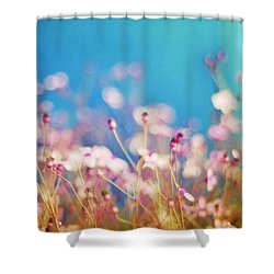 Infatuation In Blue II Shower Curtain by Amy Tyler
