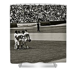 Shower Curtain featuring the photograph Infield Meeting by Eric Tressler