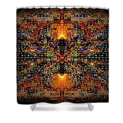 Shower Curtain featuring the digital art Infinity Mosaic Warm by Paula Ayers