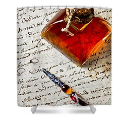 Ink Bottle And Pen  Shower Curtain by Garry Gay