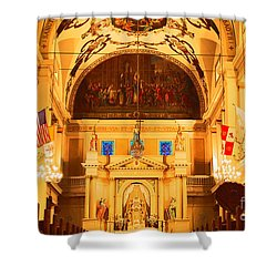 Inside St Louis Cathedral Jackson Square French Quarter New Orleans Film Grain Digital Art Shower Curtain by Shawn O'Brien